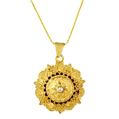 769611ed2b445 Buy AWWW Sunflower Design Beautiful Real Gold Looking Pendant with ...