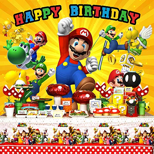 Super Mario Backdrop, Super Uncle Bros with Mushrooms Photography Background Cartoon Kids Children Birthday Party Banner -