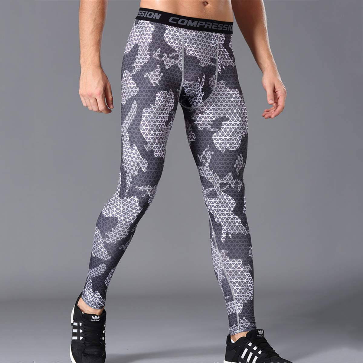 Foneedgo Exercise Pants Long for Men Camouflage Elastic Quick Drying Running Trousers Gym