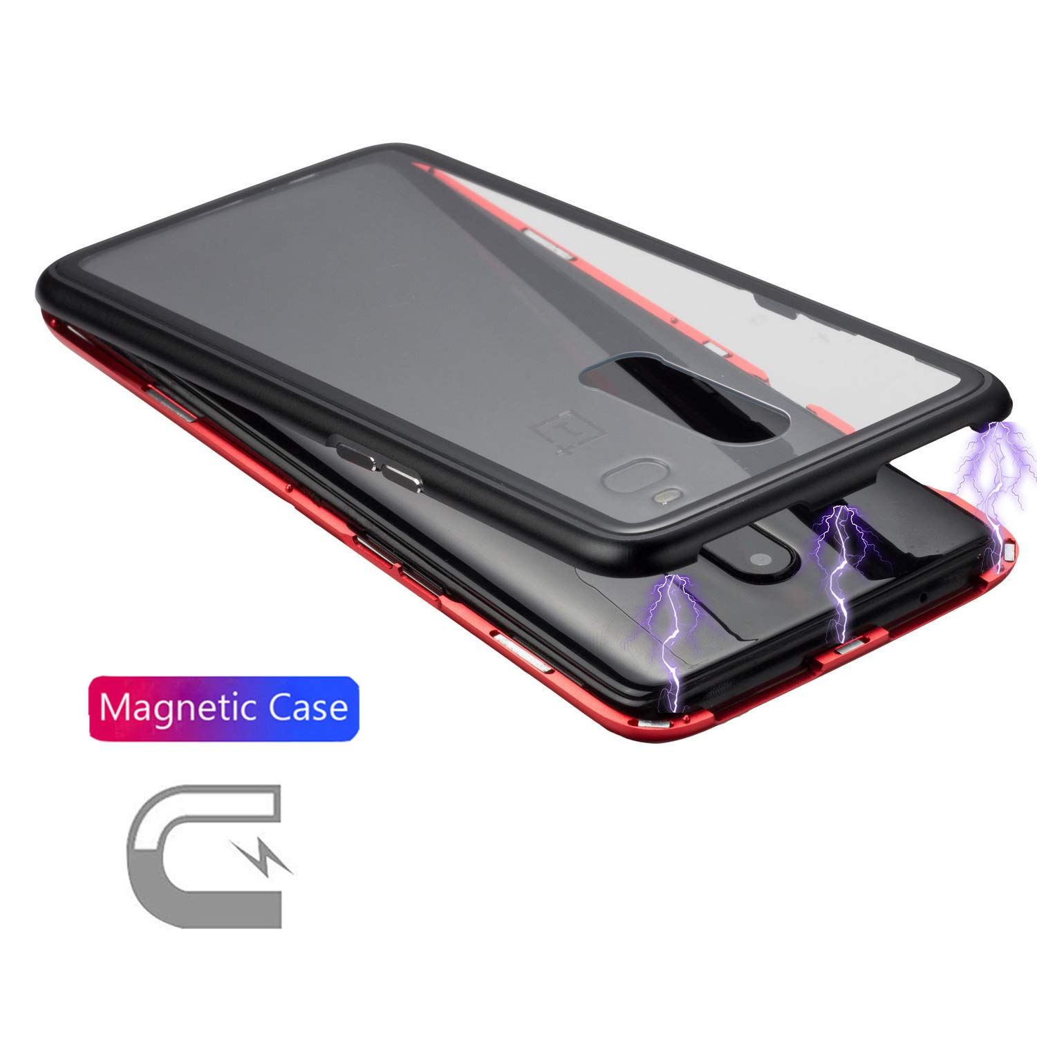 detailed look a4b02 72616 Magnetic Adsorption Flip Case for OnePlus 6 Case [Strong Magnetic  Adsorption] [Black Red Color Collision] [Clear Tempered Glass Back] Metal  Bumper ...