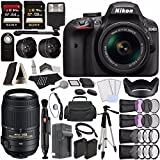 Nikon D3400 DSLR Camera with 18-55mm Lens (Black) + Nikon AF-S DX NIKKOR 55-300mm f/4.5-5.6G ED VR Lens + Battery + Charger + 64GB + 128GB + Remote + Tripod + Case + Flash Bundle