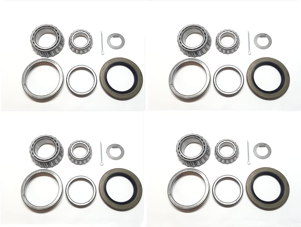 (Set of 4) Trailer Hub Wheel Bearing Kit WPS (TM) 25580 15123 with Grease Seal 10-36 (Or 10-10) for 5200-6000 lb. Tandem Axle