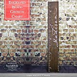 Engraved wooden ruler growth height chart (The Madison) - premium engraved lettering