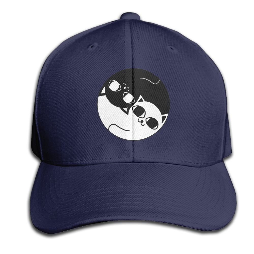 be3ac9516dd Amazon.com  Mr.Roadman Unisex Peaked Cap Ying Yang Black and White Cat Logo  Baseball Hip-hop Caps Vintage Adjustable Hats Cotton Trucker Caps for Women  and ...