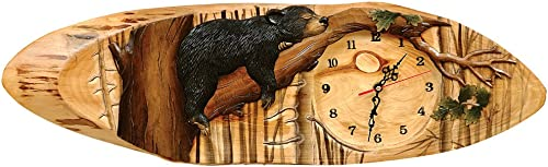 Carved Wood Bear Clock – Rustic Decor