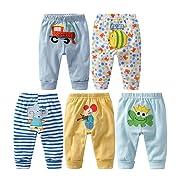 Monvecle Baby Boy 5 Pack Newborn to Toddler Cotton Long Cartoon Pants Gift Set 6M