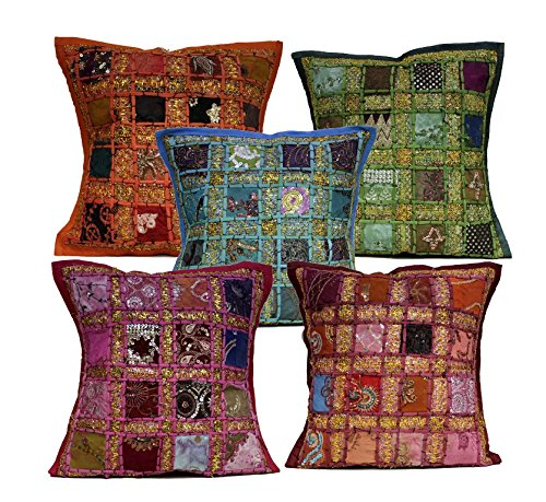 (5 Multi Embroidery Sequin Patchwork Indian Sari Throw Pillow Cushion Covers)