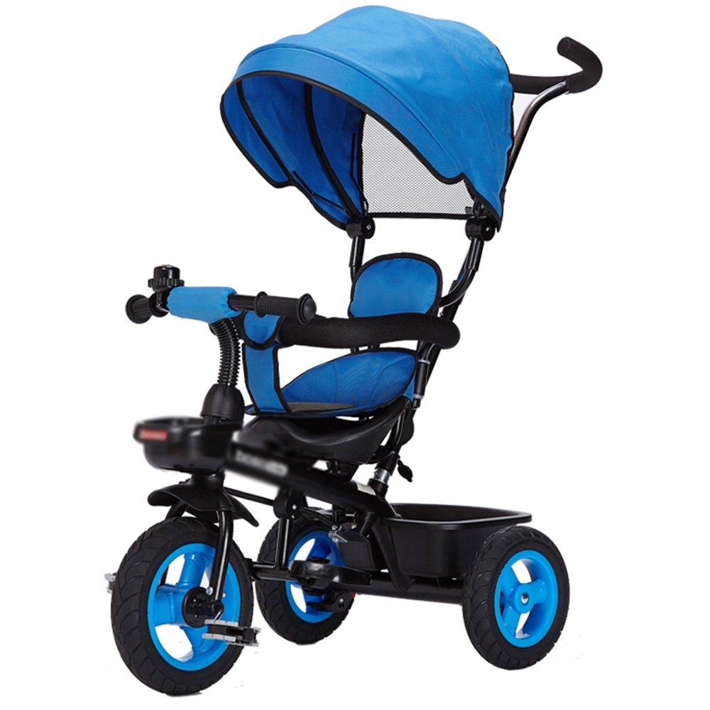 LVZAIXI 赤ちゃんの子供の自転車三輪車の赤ちゃんのキャリッジバイク子供のおもちゃの車折りたたみ可能なバイラテラルステアリング3チタンの空ホイール保護自転車で自転車 ( 色 : 青 ) B07C759GMN 青 青