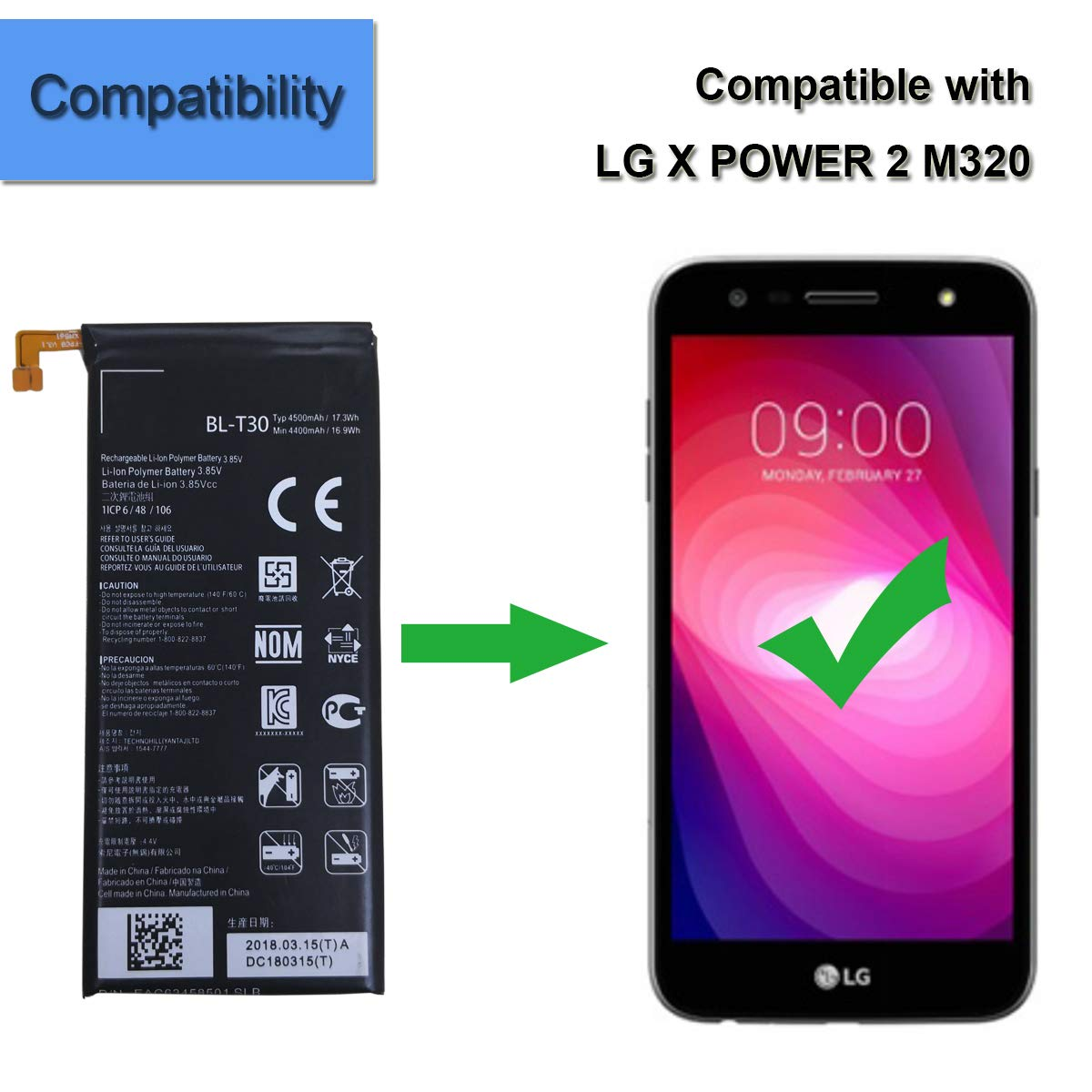 Li-Polymer New Replacement Battery BL-T30 Compatible with LG Fiesta K10 Power L63BL L64VL M320 M322 X Charge X Power 2 EAC63458501