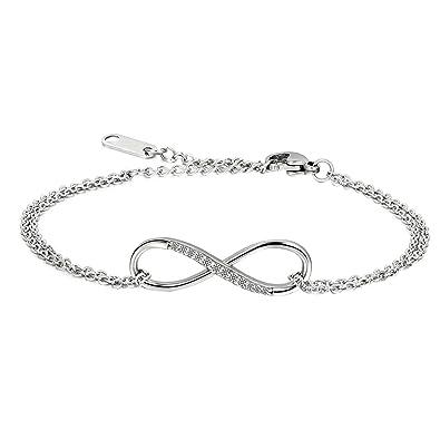 dernières tendances ramasser prix d'usine JewelryWe pour Femme en Acier Inoxydable CZ Infinity Bracelet Collier  Ensemble de Bijoux, Cadeau idéal pour Votre Femme, Petite Amie, Amant