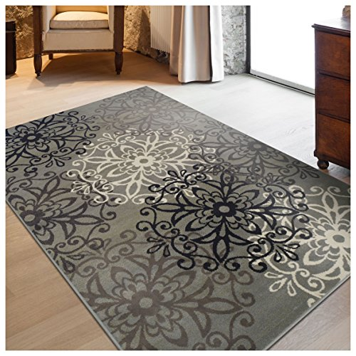 Superior Elegant Leigh Collection Area Rug, 8mm Pile Height with Jute Backing, Chic Contemporary Floral Medallion Pattern, Anti-Static, Water-Repellent Rugs - Blue, 5' x 8' Rug