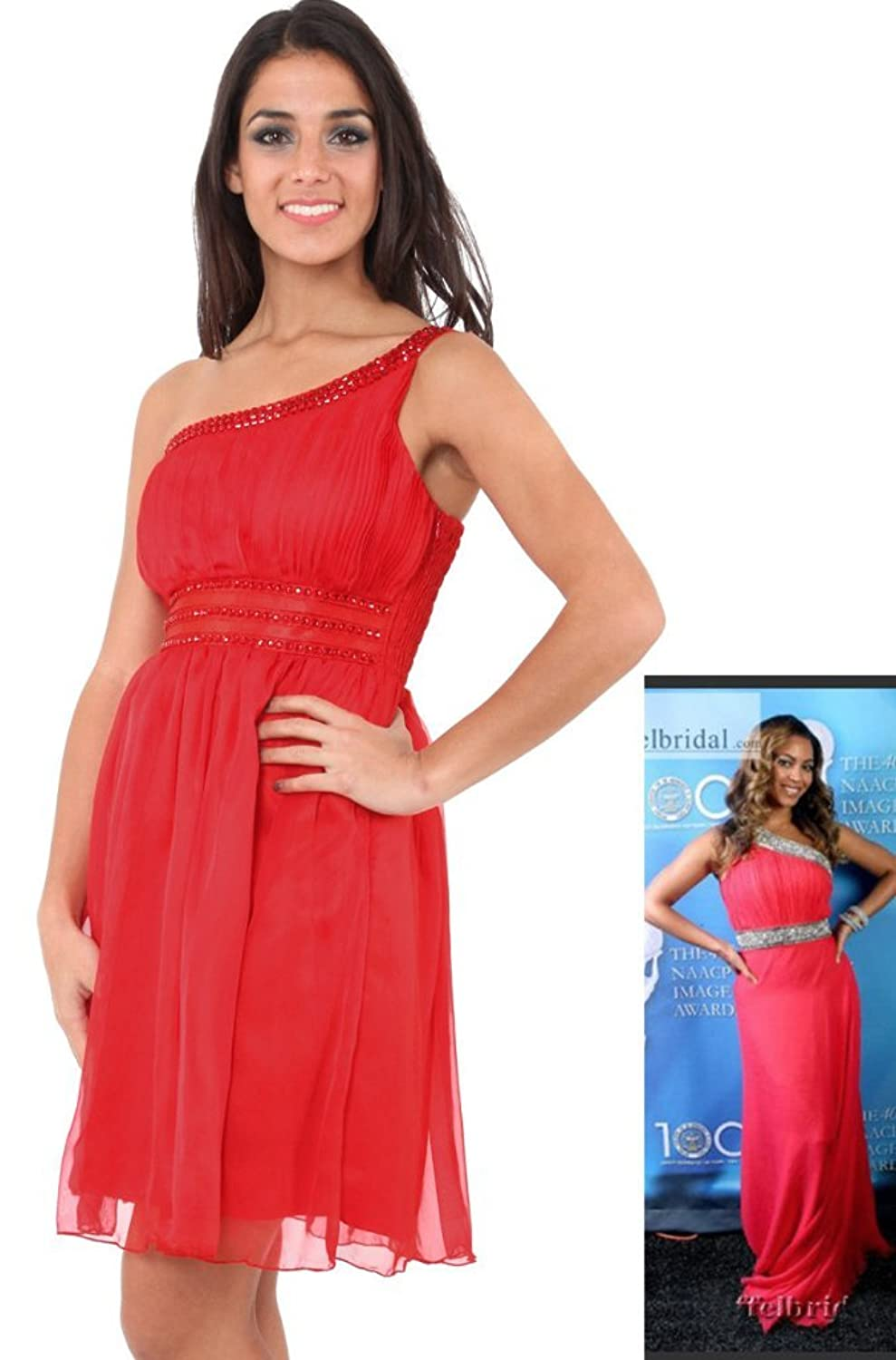 grecian one shoulder jewel trim pleat chiffon floaty dress in teal or red