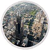 Pixels Round Beach Towel With Tassels featuring ''Willis Tower Southwest Chicago Aloft'' by Steve Gadomski