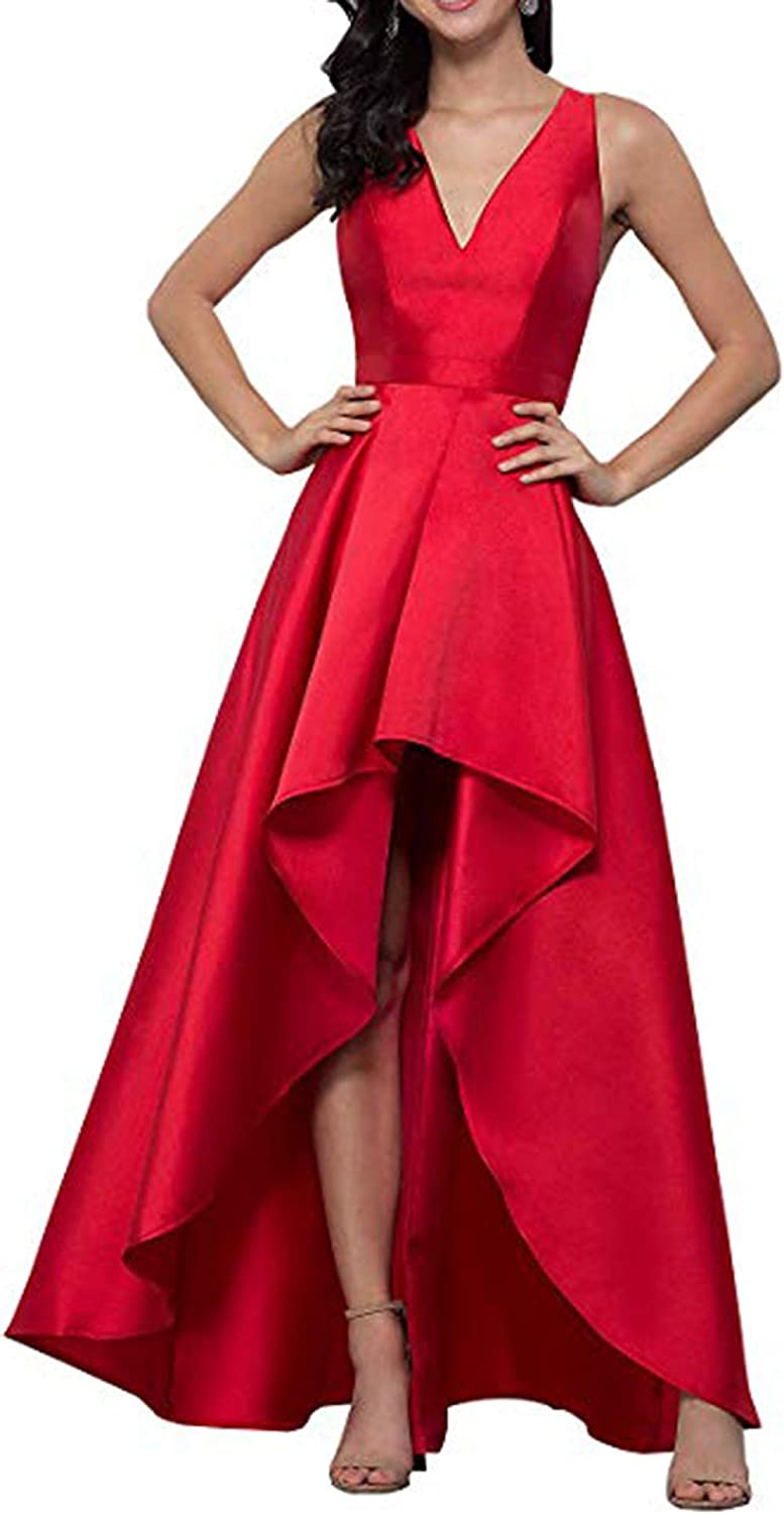 Red Rmaytiked Womens V Neck High Low Prom Dresses Long 2019 Satin A Line Formal Evening Ball Gowns with Pockets