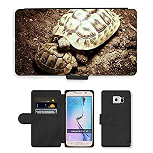 hello-mobile PU LEATHER case coque housse smartphone Flip bag Cover protection // M00137192 Tortuga Panzer Cuerno Animal Reptil // Samsung Galaxy S6 (Not Fits S6 EDGE)