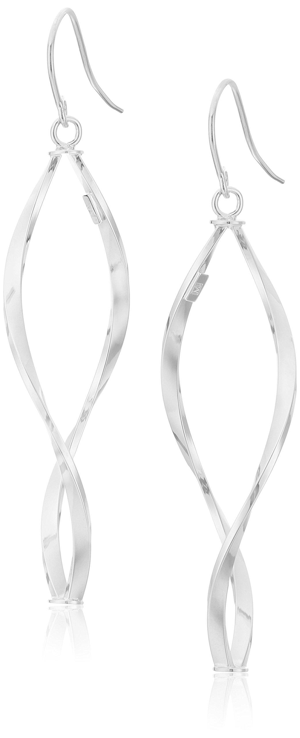 14k Italian White Gold Twisted Tube Dangle Earrings