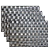 Placemats, Heat-resistant Placemats PVC Placemats Woven Vinyl Placemats Stain Resistant Anti-skid Non-slip Table Mats, Set of 4