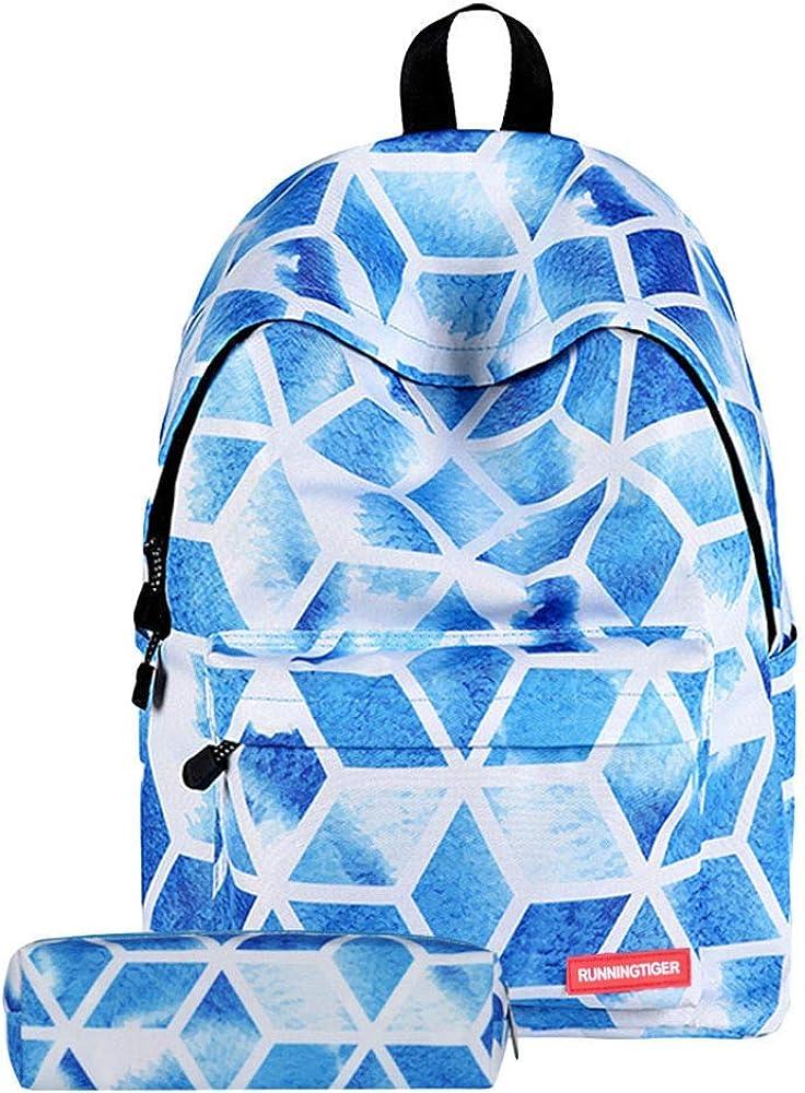 iFRich Mochila Escolar Media Superior Estudiantes Casual + Estuche Mochila para Escuela Chica Niños Adolescentes Tumblr Medias Superior Backpack - Bolsos Escolar Adolescentes Mochila Azul M: Amazon.es: Ropa y accesorios