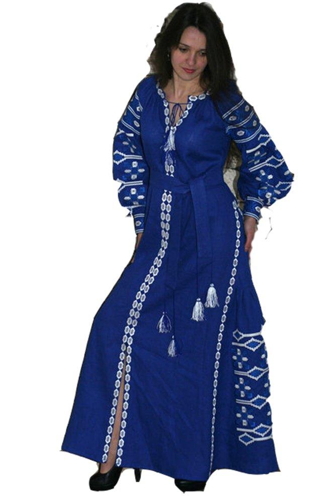 Boho Style Ukrainian Embroidered Maxi Dress Traditional Ukrainian Style