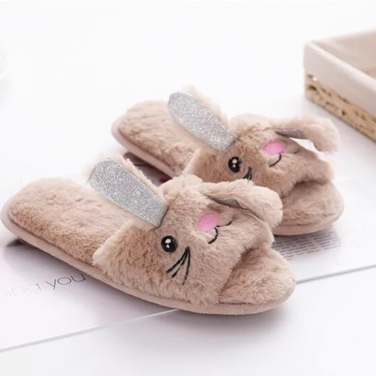 Womens Open Toe Slippers | Cute Bunny Unicorn Animal Slipper | Soft Fleece Memory Foam Clog | Anti-Slip Sole Indoor Outdoor Shoes | Flip Flop Spa Slippers (9-10, BrownBunny) by Caramella Bubble (Image #7)