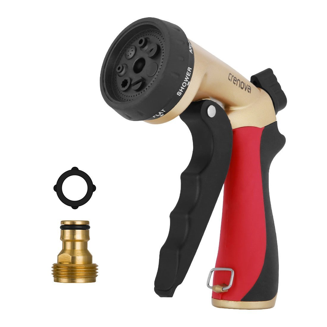 Crenova HN-05S pray Nozzle Garden Hose Nozzle Sprayer Gun - 7 Spraying Modes - Easy Flow Control Knob - Metal Nozzle High Pressure for Car Washing/Plant Watering/Sidewalk Cleaning/Pet Bathing Crenova 01