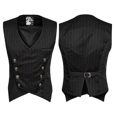 ea09a18f1d38 Punk Weste Mantel Für Männer Gothic Zweireiher Slim Fitting Schere Schwanz  Formale Sleeveless Anzug Weste  Amazon.de  Bekleidung
