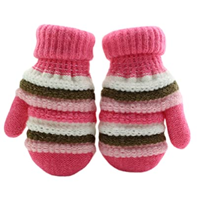 1 Pair Children's Winter Gloves knitted&Warm Mittens (2-5 Years) Stripe Pink