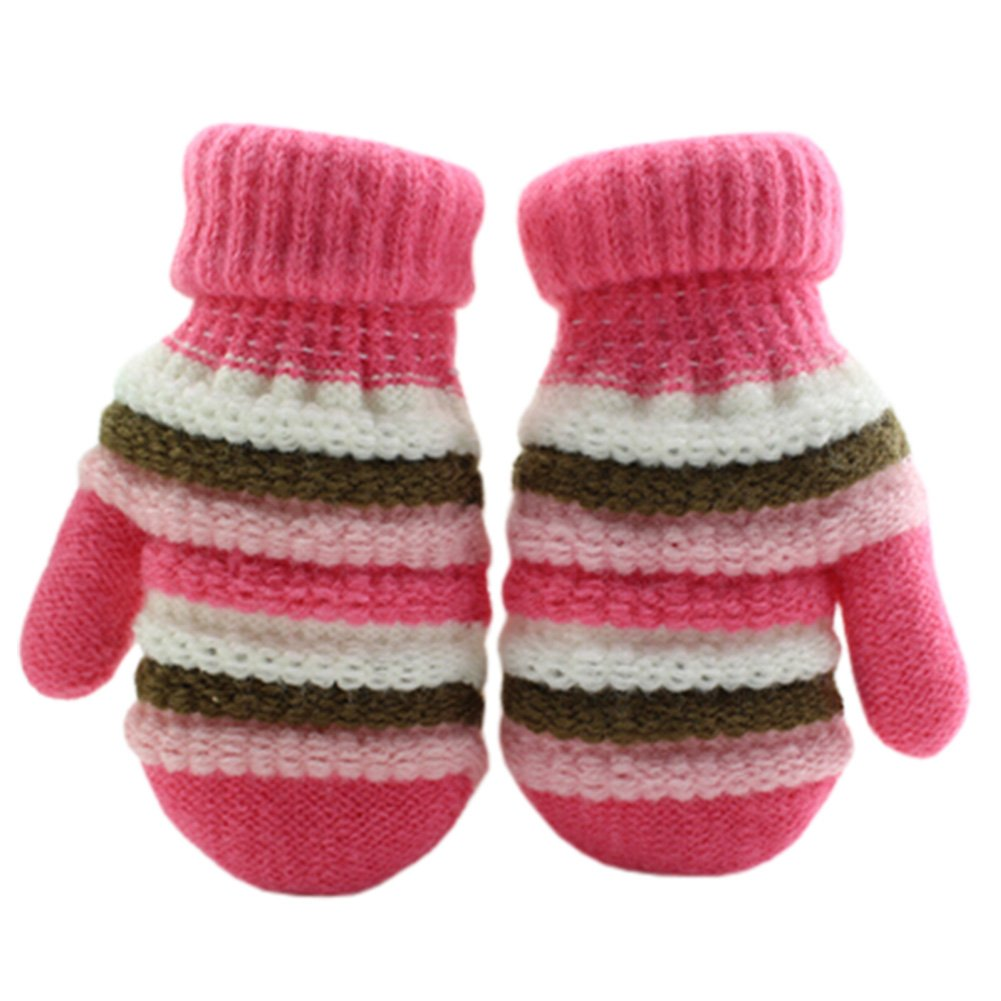 1 Pair Children's Winter Gloves knitted&Warm Mittens (2-5 Years) Stripe Pink Kylin Express