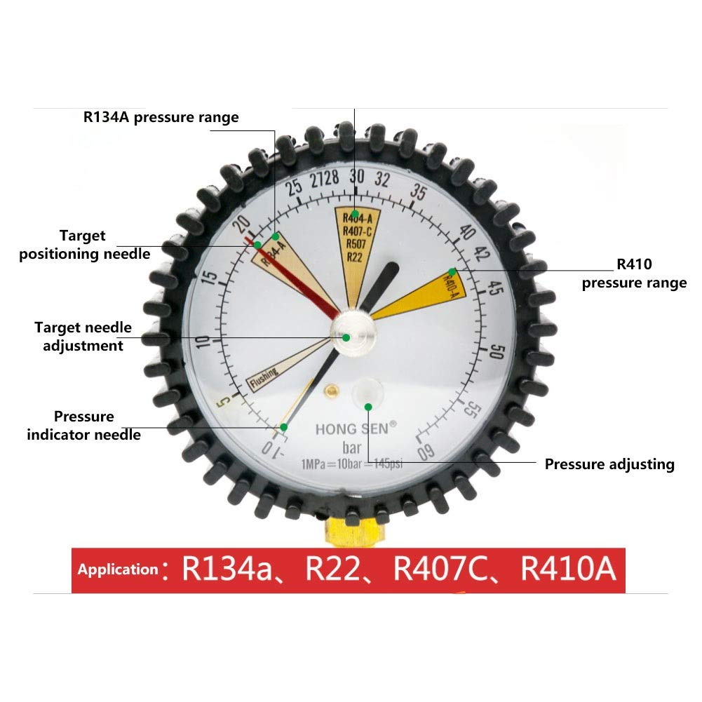 Refrigeration Pressure Test R22 R407C R410A Air Conditioning Pressure Gauge 1//4 SAE Nitrogen Pressure Gauge Replaceable Regular Head for R134a