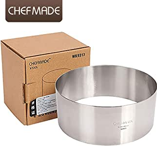 CHEFMADE Tiramisu Baking Mould For Mouss Ring Stainless Steel Cake Ring.Stainless Steel Mold For Baking And Cutting Biscuit Cakes.(8-Inch Round Stainless Steel Mousse Ring)