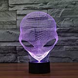 FLYMEI USB Powered 3D Optical Illusion Desk Lamp, 7 Colors Changing Touch Button LED Table Lamp, Unique Night Light for Home Decor - BEST Christmas/Birthday Gift (Alien)