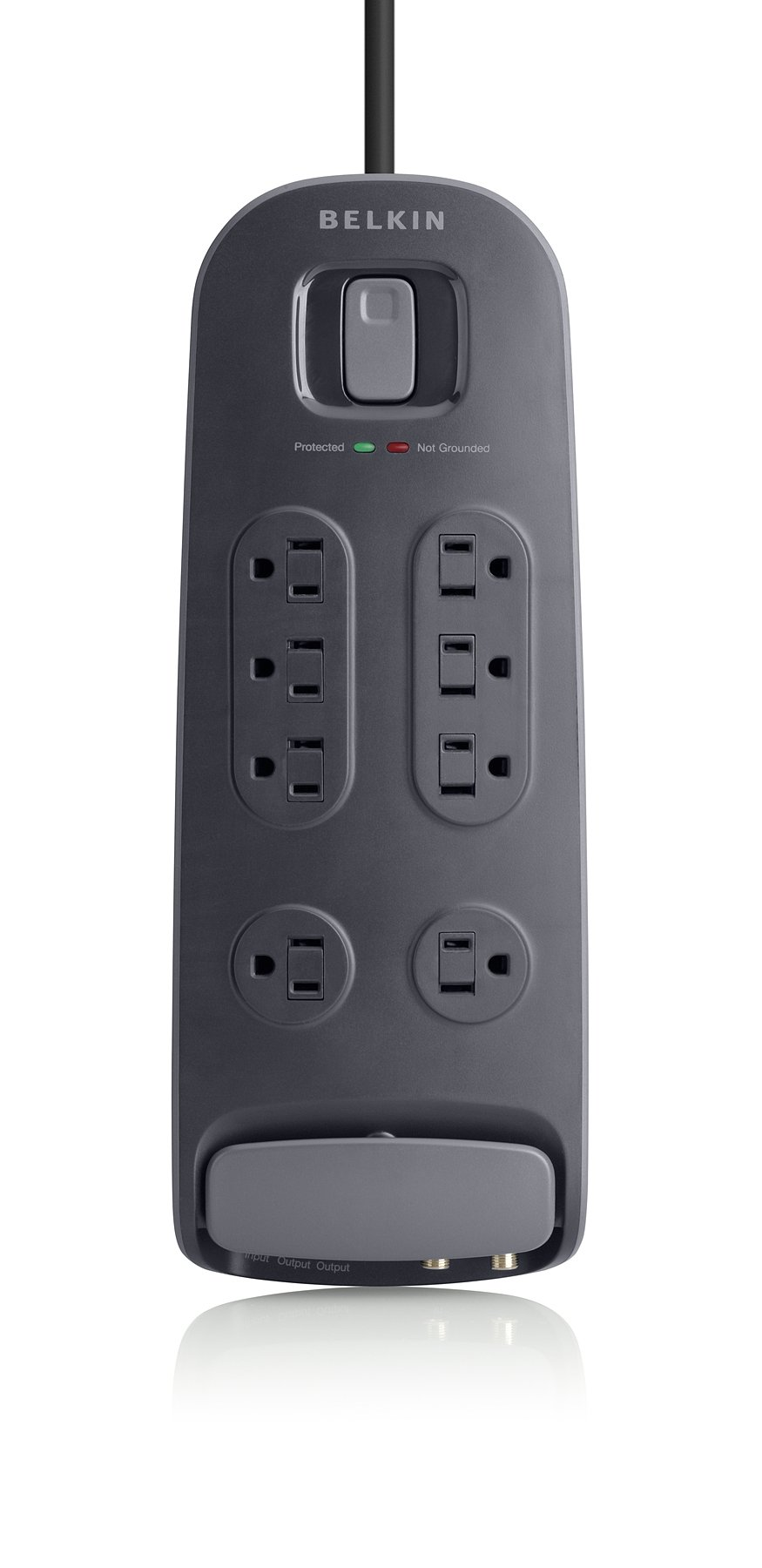 Belkin 8-Outlet AV Power Strip Surge Protector with 6-Foot Power Cord and Coaxial and Telephone Protection, 3690 Joules, Black (BV108230-06-BLK)