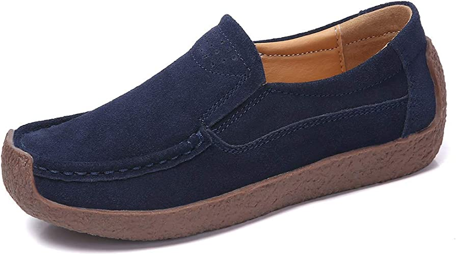 Womens Suede Slip On Loafers Flats