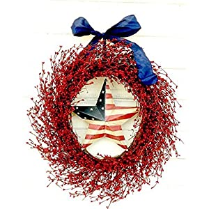 Summer Wreath-Summer Door Wreath-Patriotic Wreath-July 4th Decor-4th of July Wreath-Summer Home Decor-Patriotic Home Decor-Large Red Wreath-USA Decor, Military Christmas Gift, Military Decor, Gifts 47