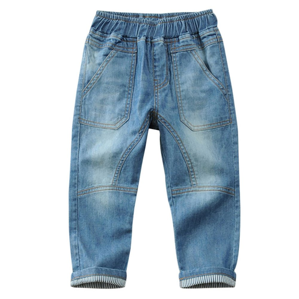 BiSHE Kids Boys Jeans Trousers Elastic Waist Straight Fit Cotton Denim Pants Jeans Autumn Winter xy-pocket pants