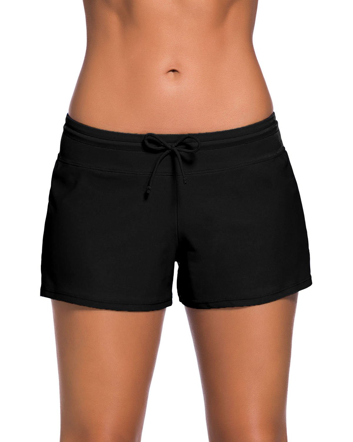 ChinFun Women's Adjustable Waistband Swimsuit Swim Board Shorts Loose Fit Solid Black Size M