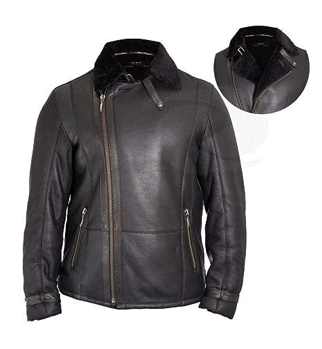 Zens Leather Chaqueta de piel de oveja para hombre con forro ...
