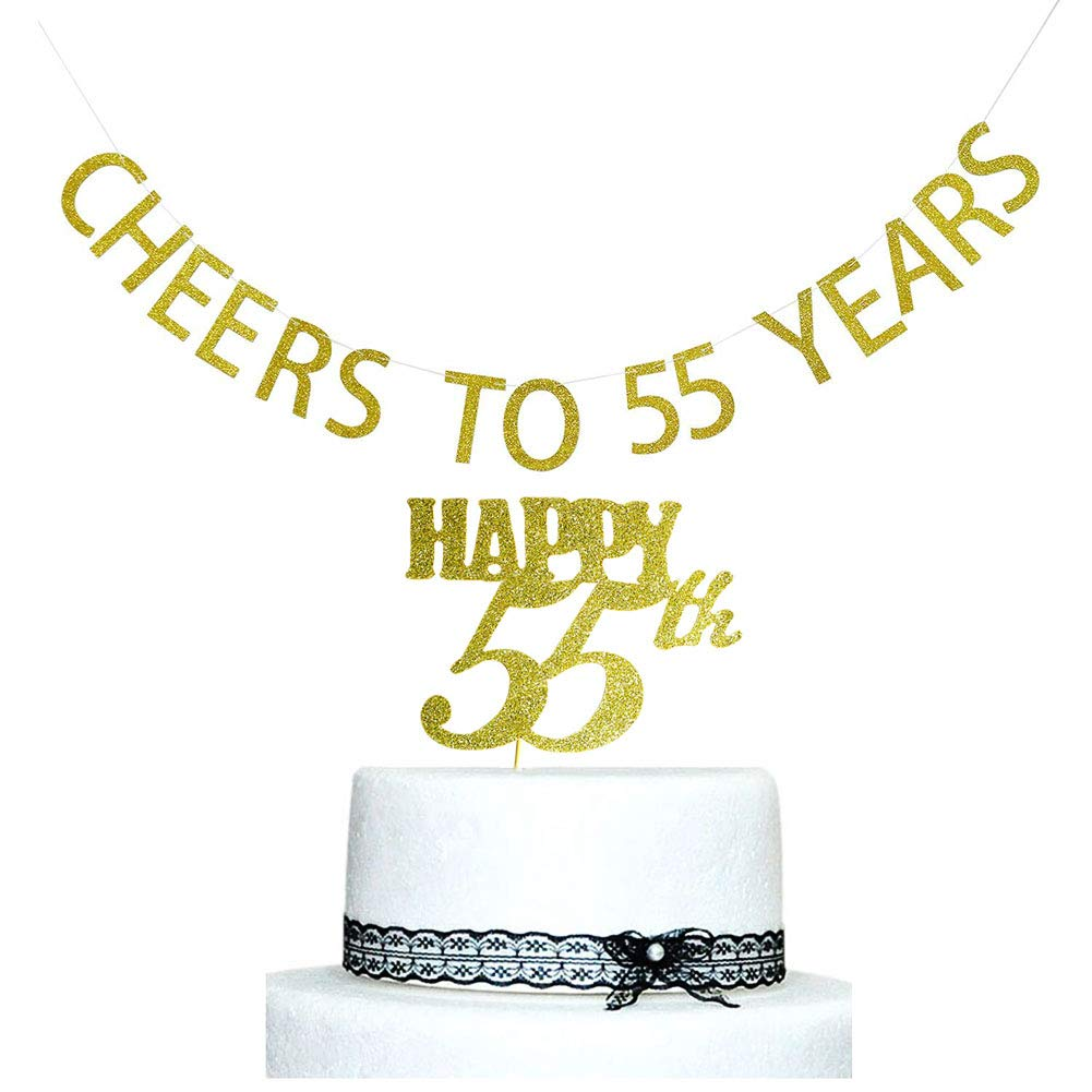 Amazon Cheers To 55 Years Banner And Happy 55th Cake Topper Gold Glitter For Birthday Wedding Anniversary Party Decorations Supplies Health