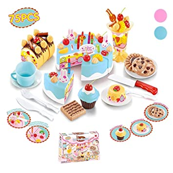 Play Plastic Food Set Kids Gift Birthday Cake With Cutting Knife Tea Pot And Cups Baby