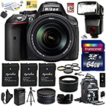 "Nikon D5300 24.2 MP CMOS Digital SLR Camera with 18-140mm f/3.5-5.6G ED VR AF-S DX NIKKOR Zoom Lens (Black) (13303) with Advanced Accessory Bundle Kit includes 64GB SD Memory Card + Bower SFD728 Automatic Flash + SD Card Reader + 60"" Tripod + Travel Backpack + (3) Extra Battery + Charger + 67MM 5 Piece Filter Set + Shutter Remote Control + 2.2x Telephoto AF Lens + .43x Wide Angle Panoramic Macro Fisheye Lens + Lens Hood + Leather Camera Hand Strap + DVD Training Photography Tutorial for Digital"