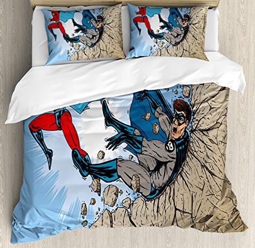 Ambesonne Superhero Duvet Cover Set Queen Size, Old School Comic Book Hero and Villain on The Rocks Punching Kicking Cartoon, Decorative 3 Piece Bedding Set with 2 Pillow Shams, Multicolor
