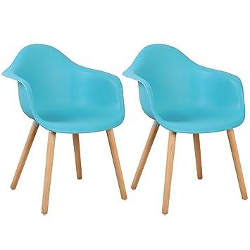 WOLTU BH37bl 2 Esszimmerstühle 2er Set Esszimmerstuhl Mit Lehne Design Stuhl  Küchenstuhl Holz Blau