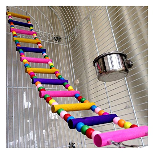 Saymequeen 31-80cm Multi-color Parrots Ladder Bridge Pet Bird Trainning Swings Wood Budgie Toys Climbing Ladder Hanging Toy Hammock (12 Ladders(L:80cm/31.4'')) by Pet-Saymequeen (Image #2)