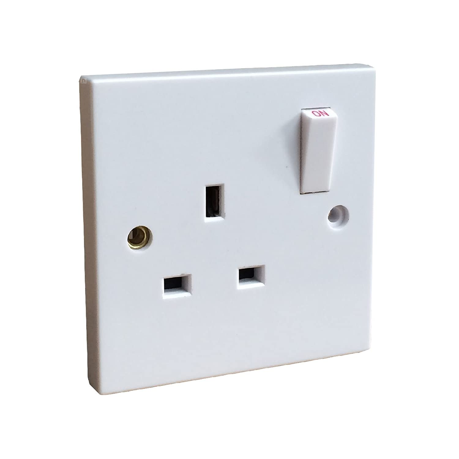 White Single Wall Socket 1 Gang / Square Edge Electric Wall Plug Switched Red / Grey