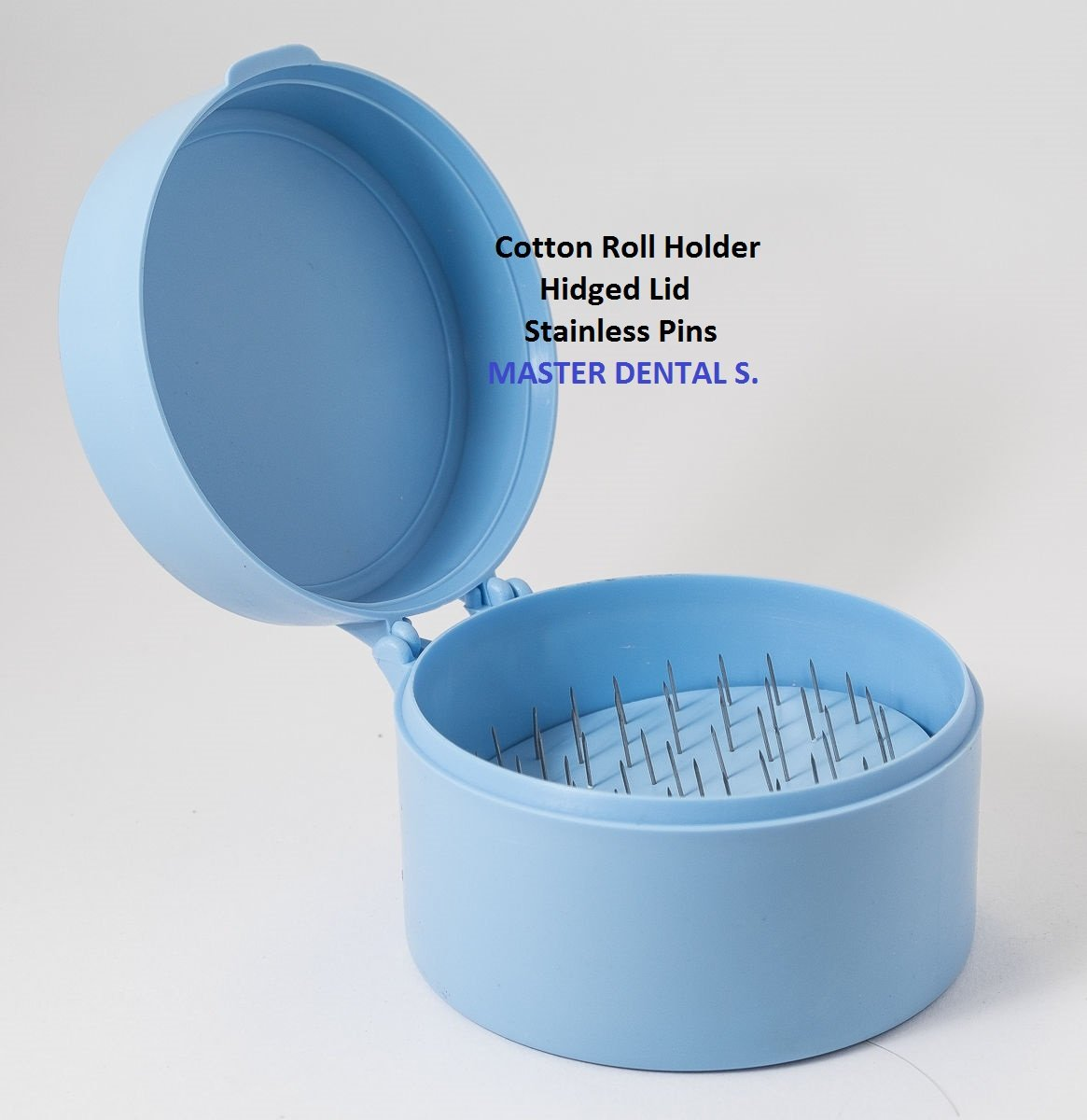 Dental Cotton Roll Dispenser Holder Organizer Case Roun Blue with Hinged Lid and Stainless Pins by House Brand