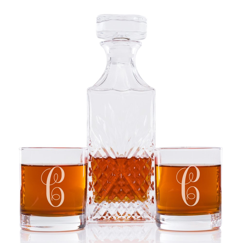 Abby Smith Lavish Style Initial Decanter and Engraved Rock Glass Set of 3, Letter C