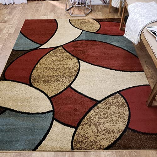 Maxy Home Pasha Oval Circles Multicolor 7 ft. 10 in. x 10 ft. 6 in. Area Rug