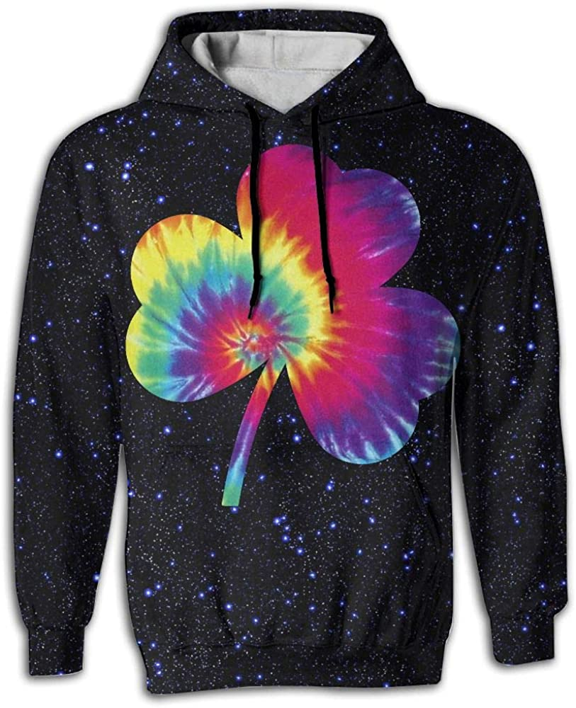CCCMMMHH Clover Tie Dye Men 3D Pullover Long Sleeve Hoodies Tops