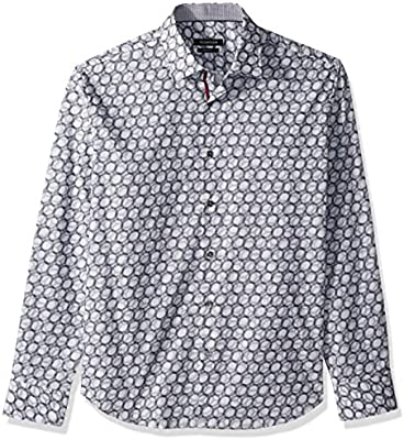 Bugatchi Mens Cotton Shaped Fit French Placket Woven