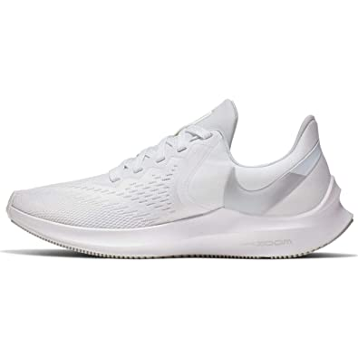 4578709eb0213 Amazon.com | Nike Womens Zoom Winflo 6 Running Sneakers White/Metallic  Platinum AQ8228-100 (7.5 B US) | Road Running